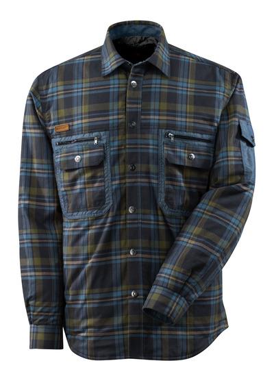 MASCOT® ADVANCED - donkermarine/ijsblauw* - Thermo overhemd van geruit flanel met gewatteerde voering