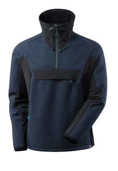 MASCOT® ADVANCED - donkermarine/zwart - Gebreid jack met korte rits en membraan