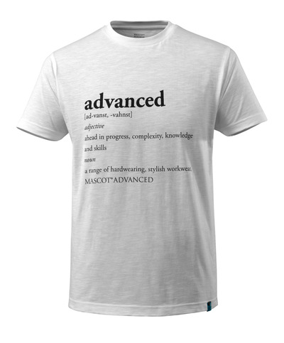 MASCOT® ADVANCED - wit - T-shirt met ADVANCED-tekst, moderne pasvorm