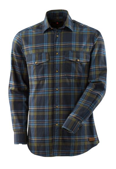 MASCOT® ADVANCED - donkermarine/ijsblauw - Overhemd van geruit flanel