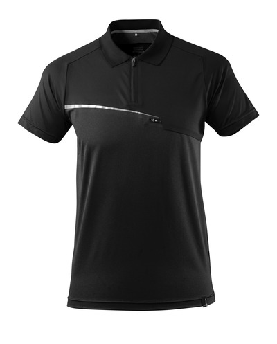 MASCOT® ADVANCED - zwart - Polo met borstzak, vochtregulerend, moderne pasvorm