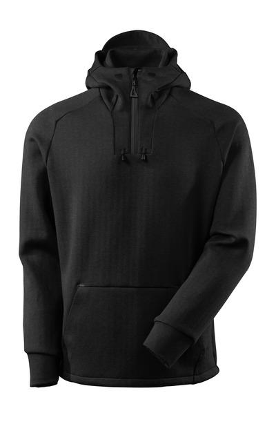 MASCOT® ADVANCED - zwart-melêe/zwart - Capuchontrui met korte rits, moderne pasvorm