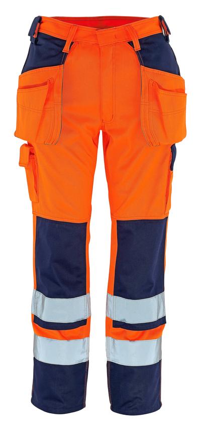 MASCOT® Almas - hi-vis oranje/marine - Werkbroek met knie- en spijkerzakken, klasse 2