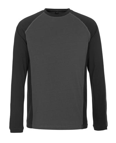MASCOT® Bielefeld - donkerantraciet/zwart - T-shirt, met lange mouwen