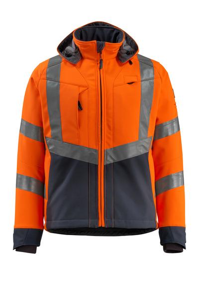MASCOT® Blackpool - hi-vis oranje/donkermarine - Softshelljack met fleece aan de binnenkant, waterafstotend materiaal, klasse 3