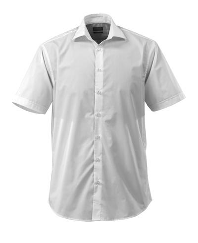 MASCOT® CROSSOVER - wit - Overhemd, popeline, ruime pasvorm, korte mouwen.