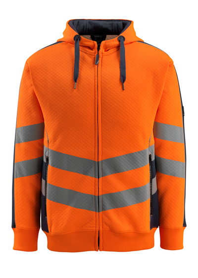 MASCOT® Corby - hi-vis oranje/donkermarine - Capuchontrui, gewafeld oppervlak, moderne pasvorm