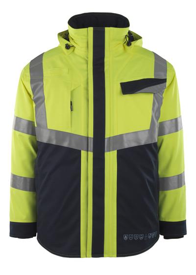 MASCOT® Emmen - hi-vis geel/donkermarine - Winterjack met gewatteerde voering, waterdicht, meervoudige bescherming, klasse 2