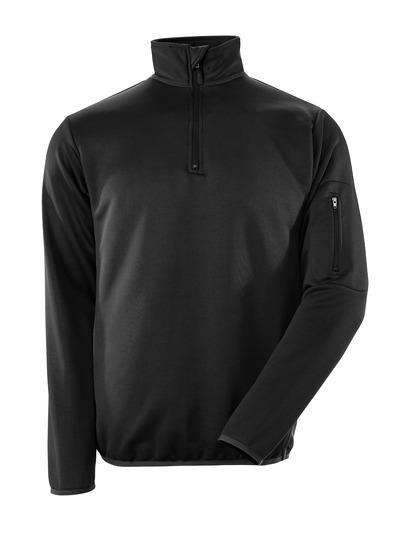 MASCOT® Estela - zwart/donkerantraciet - Polosweatshirt met rits, moderne pasvorm, vochtregulerend