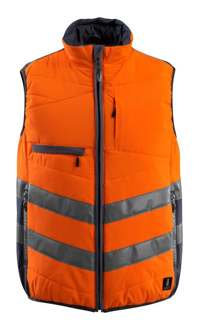 MASCOT® Grimsby - hi-vis oranje/donkermarine - Bodywarmer, gewatteerd, waterafstotend, klasse 1