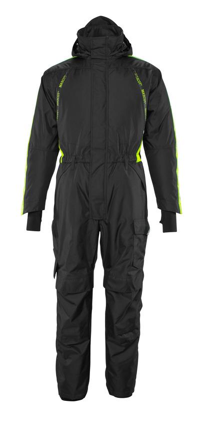 MASCOT® HARDWEAR - zwart/hi-vis geel - Winteroverall met gewatteerde voering en kniezakken, waterdicht, lichtgewicht