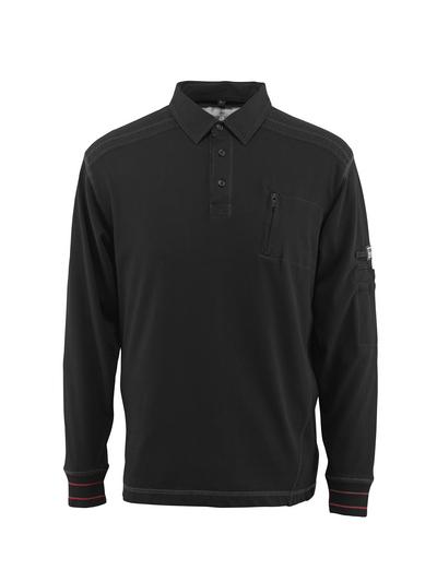 MASCOT® Ios - zwart - Polosweatshirt met borstzak, moderne pasvorm