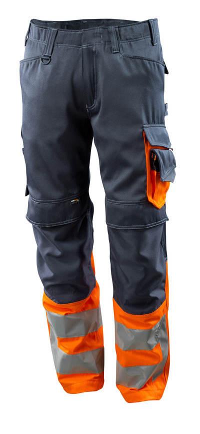MASCOT® Leeds - donkermarine/hi-vis oranje - Werkbroek met CORDURA®-kniezakken, klasse 1