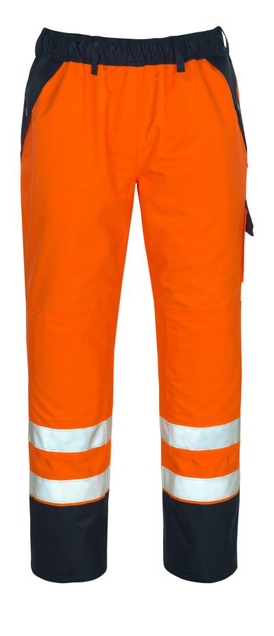 MASCOT® Linz - hi-vis oranje/marine - Overtrekbroek met kniezakken, waterdicht MASCOTEX®, klasse 1/2