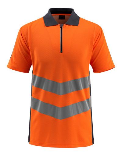 MASCOT® Murton - hi-vis oranje/donkermarine - Poloshirt met rits, moderne pasvorm, klasse 2
