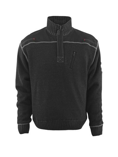 MASCOT® Naxos - zwart - Gebreide trui met korte rits, lichte voering