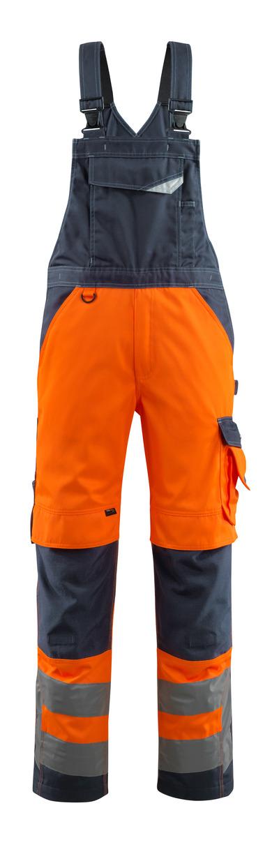 MASCOT® Newcastle - hi-vis oranje/donkermarine - Amerikaanse overall met kniezakken, klasse 2