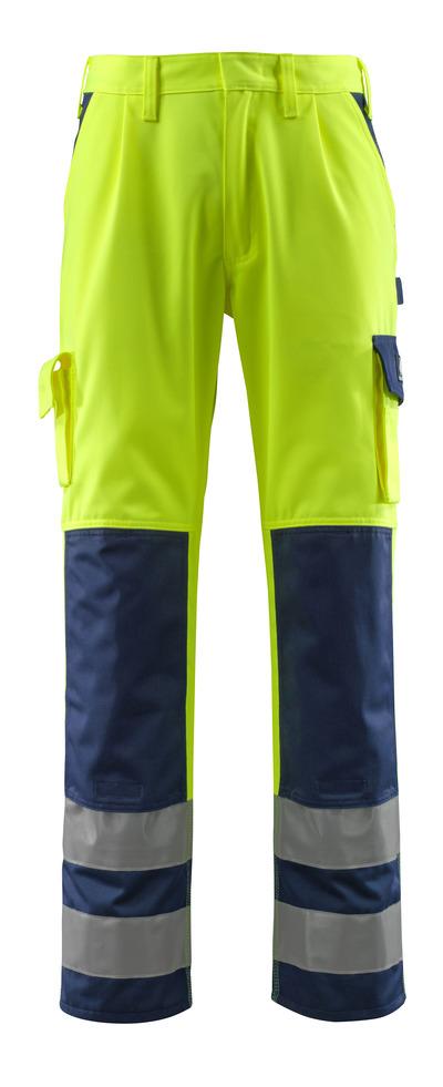 MASCOT® Olinda - hi-vis geel/marine - Werkbroek met kniezakken, klasse 2