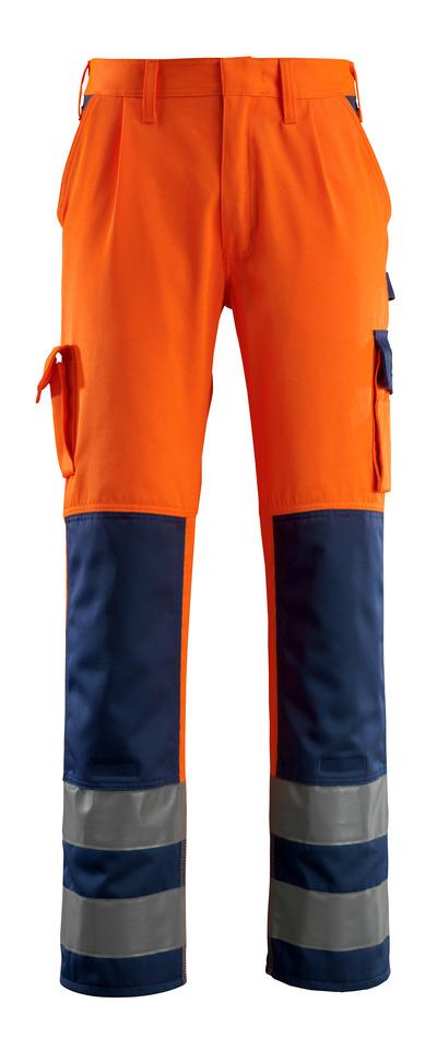 MASCOT® Olinda - hi-vis oranje/marine - Werkbroek met kniezakken, klasse 2
