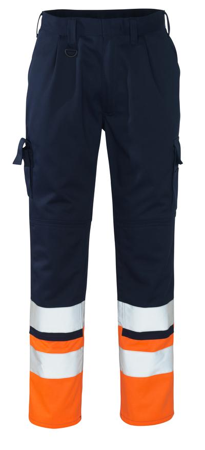MASCOT® Patos - marine/hi-vis oranje - Werkbroek met kniezakken, klasse 1