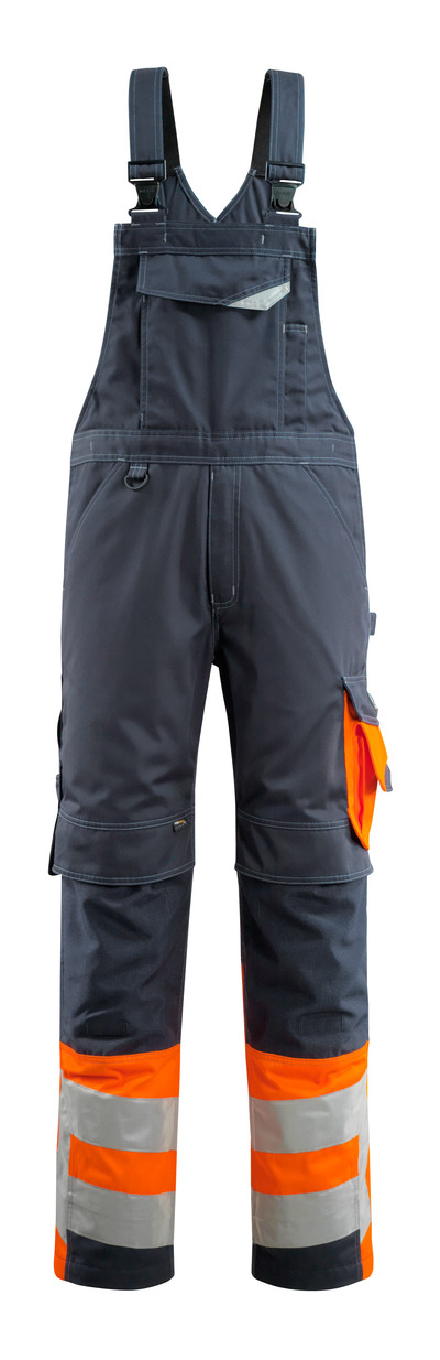 MASCOT® Sunderland - donkermarine/hi-vis oranje - Amerikaanse overall met kniezakken, klasse 1